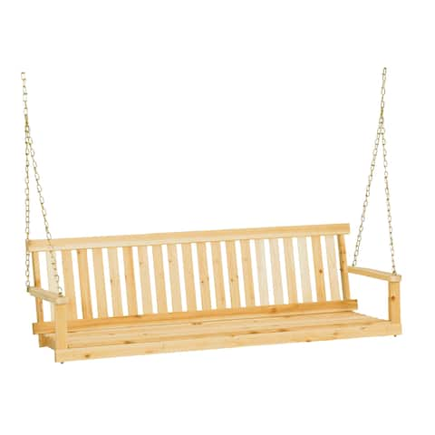 """Jack Post H-25 60""""W X 22""""D X 17.5""""H Classic Natural Finish Porch Swing"""