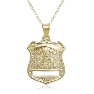 14k Yellow Gold 16-inch Police Badge Pendant Necklace