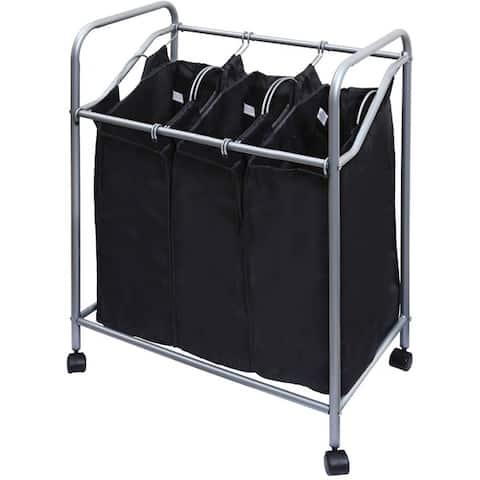 Ybm Home Black Stainless Steel Triple Laundry Sorter Hamper