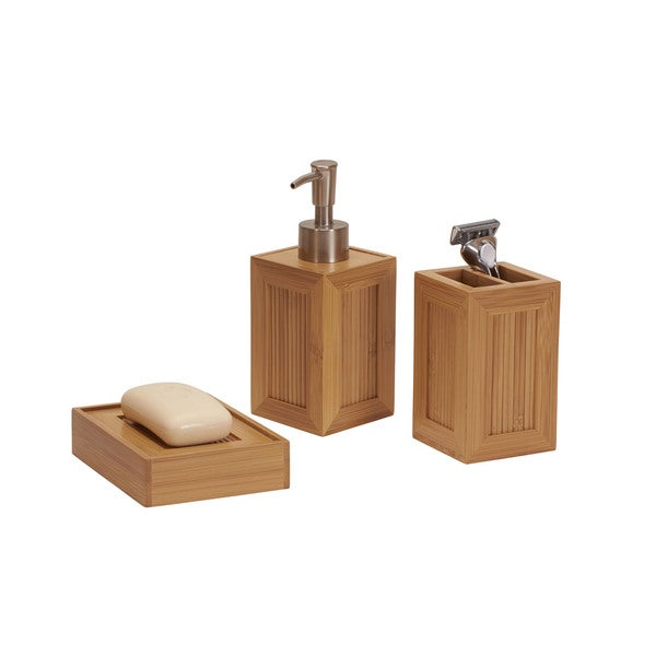 Essentials bamboo 3 piece vanity set free shipping on for Bathroom essentials set
