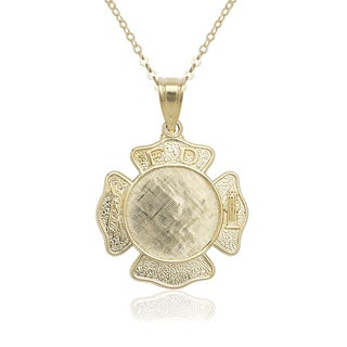 14k Yellow Gold 16-inch Engraveable Fireman Badge Pendant Necklace
