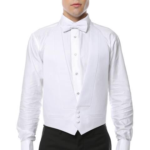 Men's White 100-percent Pique Cotton Formal Vest and Bow Tie