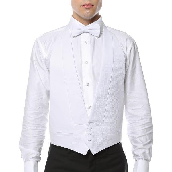 Mens White 100-percent Pique Cotton Formal Vest and Bow Tie
