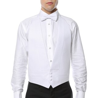 Men's White 100-percent Pique Cotton Formal Vest and Bow Tie