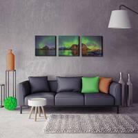 Furinno SeniA 'Aurora in Iceland' Multicolored MDF Framed Photography Triptych Print