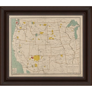 Vintage Collection 'Western United States' Framed High Quality Print on Canvas