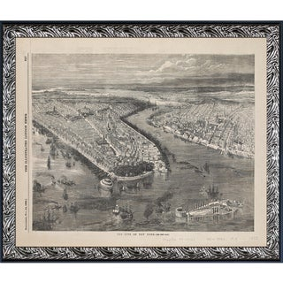 Vintage Collection 'Bird's Eye View of New York' Framed High Quality Print on Canvas