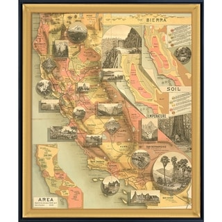 Vintage Collection 'A Unique Map of California' Framed High Quality Print on Canvas