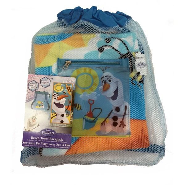 Frozen Olaf Beach Towel in Mesh Backpack