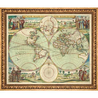 Vintage Collection 'World Map' Framed High Quality Print on Canvas