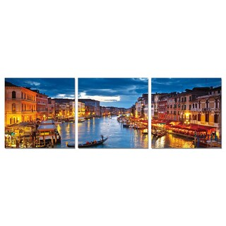 Furinno SeniA 'Venice, Glowing at Dusk' Wall Mounted Triptych Photography Prints (Set of 3)