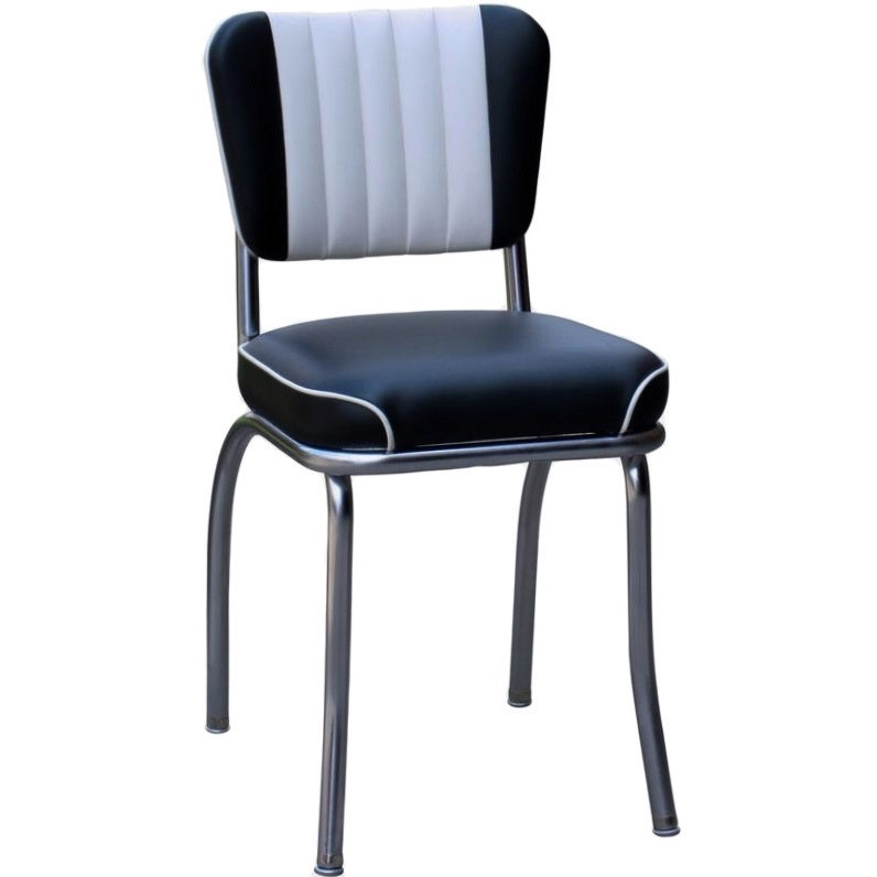 Retro Home Dining Chair With 2-toned Channel Back (Black)...