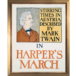 Vintage Collection 'Mark Twain in Harper's March' Framed High Quality Print on Canvas
