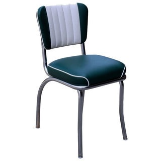 Retro Home Two-toned Channel Back Dining Chair