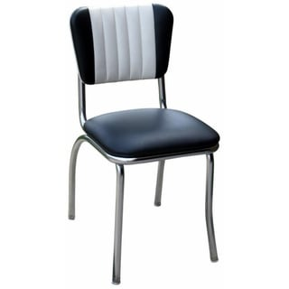 Black/White Vinyl Retro Home Side Dining Chair