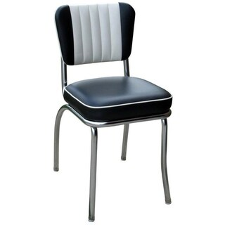 Retro Home Black Vinyl/ Chrome Dining Chair