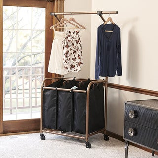Copper and Black 3-bag Laundry Sorter and Clothes Rack