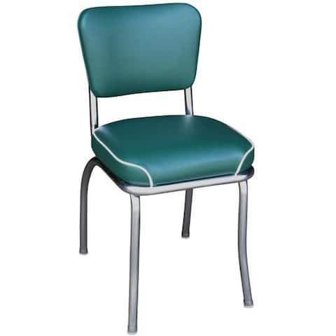 Green Chrome/Vinyl Retro Home Dining Chair - Green/Chrome