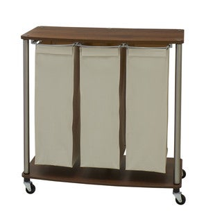 Household Essentials Medium Walnut Fabric/Plastic/Metal Rolling 3-bag Laundry Sorter Cart
