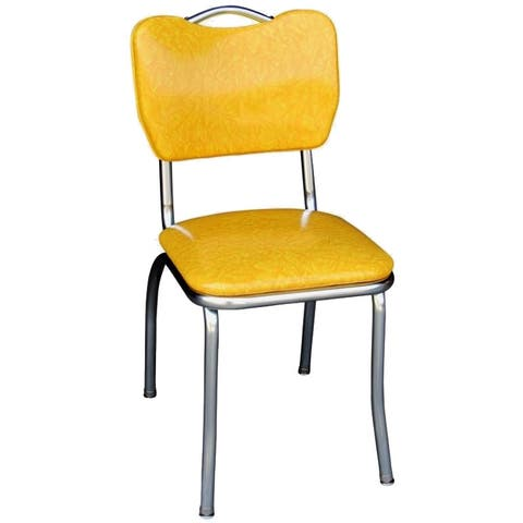 Richardson Seating Yellow Retro Home Dining Chair with Chrome-finished Steel Frame