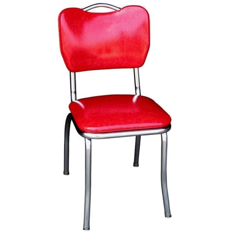 Richardson Seating Red Vinyl Retro Home Dining Chair with Chrome-finished Steel Frame