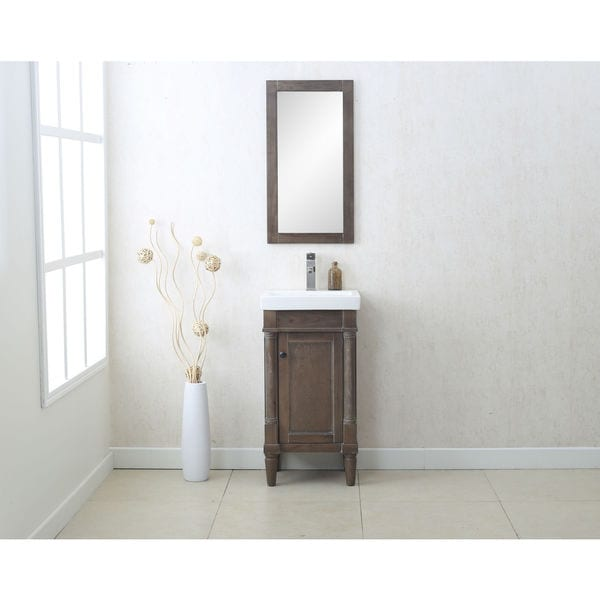 legion furniture weathered grey ceramic glass mdf wood 18 inch single sink vanity with matching