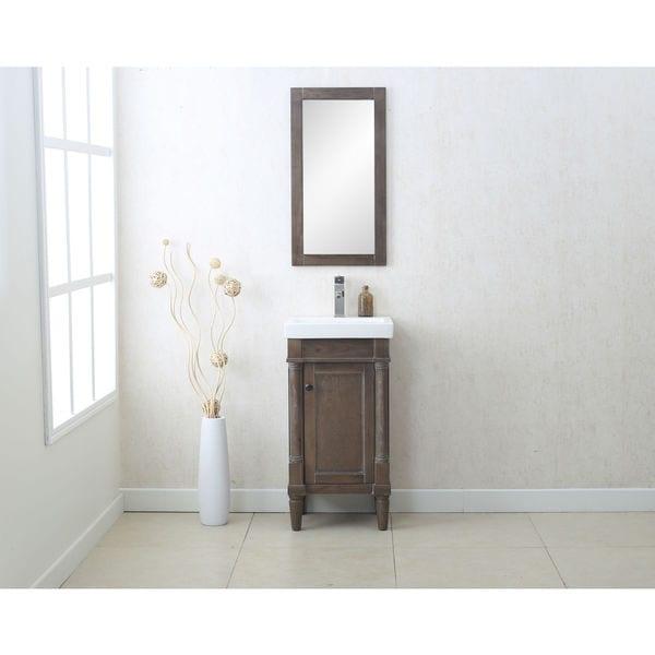 Legion Furniture Weathered Grey Ceramic Gl Mdf Wood 18 Inch Single