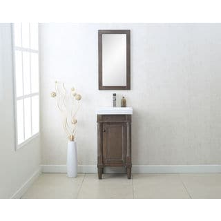 Legion Furniture Weathered Grey Ceramic/Glass/MDF/Wood 18-inch Single-sink Vanity with Matching Wall Mirror (Set of 2)