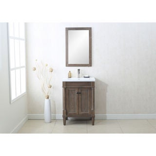Legion Furnitue Weathered Grey Single-sink 24-inch Vanity and Wall Mirror Set