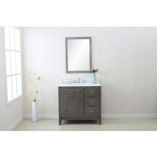 Legion Furniture Silver Gray 36-inch Sink Vanity Cabinet With Matching Mirror