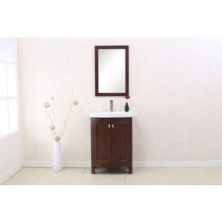 Legion Furniture Royal Walnut Wood 24-inch Single-sink Vanity with Matching Wall Mirror
