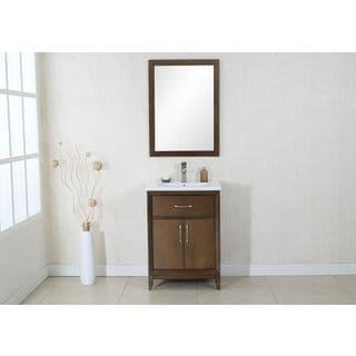 Legion Furniture Antique Coffee Finish 24-inch Ceramic Top Single Sink Vanity and Mirror Set