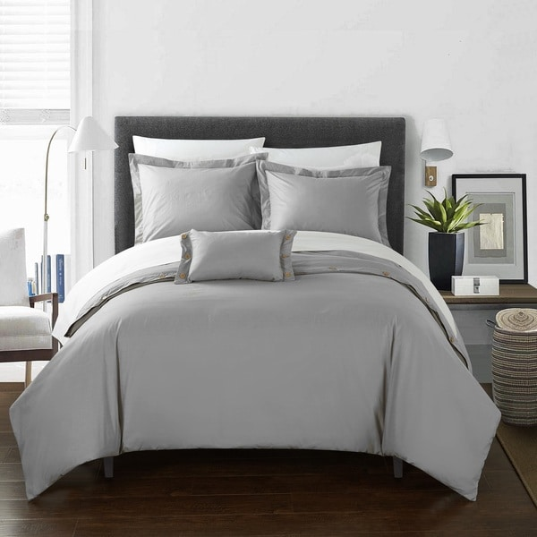 Chic Home 8-Piece Astrid Bed-In-A-Bag Grey Duvet Set