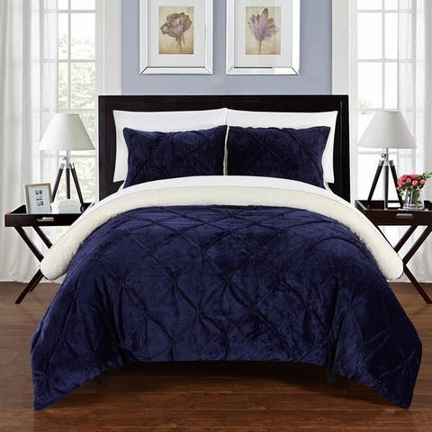 Chic Home 7-Piece Chiara Bed-In-A-Bag Navy Comforter Set