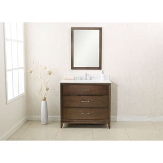 Legion Furniture Antique Coffee Finish 36-inch Quartz Top Single Sink Vanity and Mirror Set