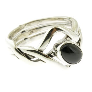 Handmade Polished .925 Sterling Silver 3 Part Black Onyx Puzzle Ring (Mexico)