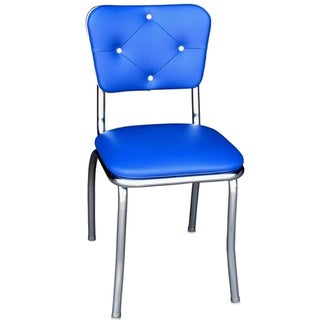 Richardson Seating Retro Home Blue Metal and Vinyl Dining Chair