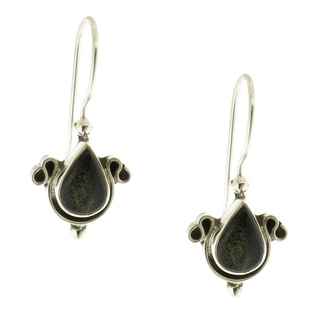 Handcrafted Sterling Silver and Teardrop Gemstone Oxidized Earrings (Mexico)