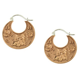 Handcrafted Sterling Silver and Copper Floral Hoop Earrings (Mexico)