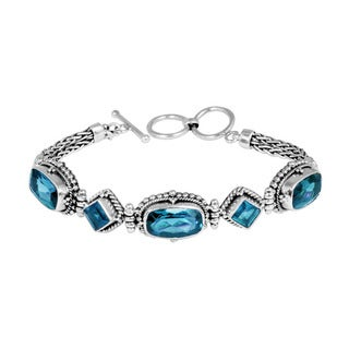 Handcrafted Antiqued Sterling Silver Blue Topaz Links Toggle Bracelet (Indonesia)