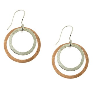 Handcrafted Sterling Silver and Copper Matt Finish Double Rings Dangle Earrings (Mexico)