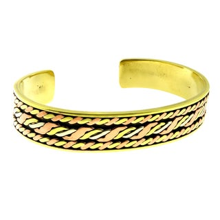 Handcrafted Artisan Braided Mixed Metals Unisex Cuff Bracelet (Mexico)