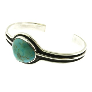 Handcrafted Oxidized .925 Sterling Silver with Abstract Gemstone Cuff Bracelet (Mexico)