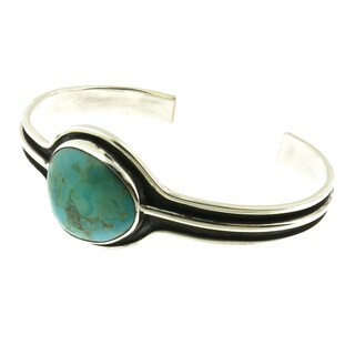 Handmade Oxidized .925 Sterling Silver with Abstract Gemstone Cuff Bracelet (Mexico) (Option: Azurite)