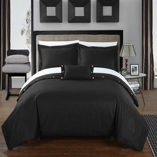 Chic Home 8-Piece Astrid Bed-In-A-Bag Black Duvet Set
