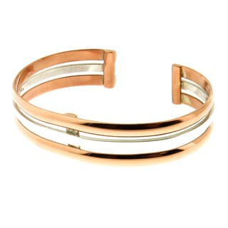 Handcrafted .925 Sterling Silver and Copper Triple Bands Cuff Bracelet (Mexico)
