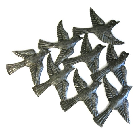 Handcrafted Recycled Steel Drum Flock of Birds Wall Art (Haiti)