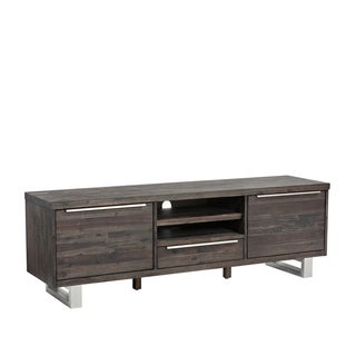 Sunpan Rhodes Autumn Brown/Espresso Wood/Stainless Steel Large Media Stand