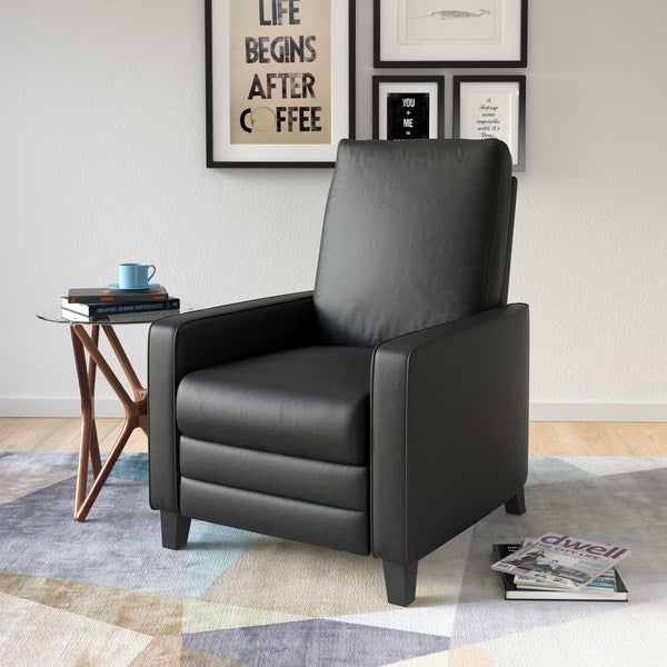 CorLiving Kelsey Bonded Leather Modern Recliner Armchair Free