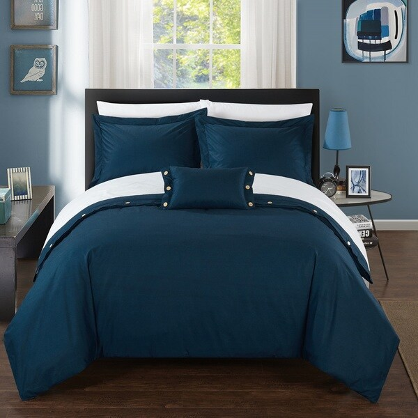 Chic Home 8-Piece Astrid Bed-In-A-Bag Navy Duvet Set